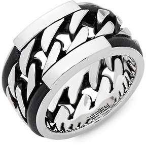 Effy Men's Men's Leather and Sterling Silver Ring