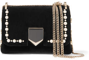 Jimmy Choo Lockett Mini Faux Pearl-embellished Velvet Shoulder Bag - Black