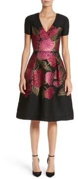 Carolina Herrera Women's Embroidered Brocade Fit & Flare Dress