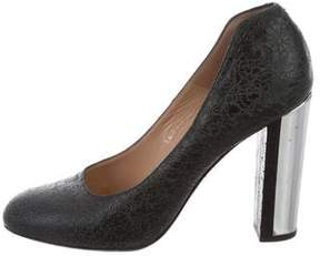 Dries Van Noten Distressed Leather Round-Toe Pumps