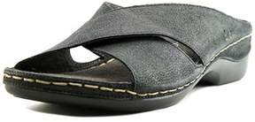 b.ø.c. Womens Kallie Leather Open Toe Casual Slide Sandals.