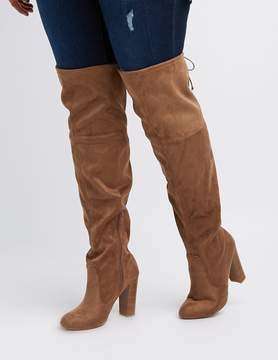Charlotte Russe Wide Width Tie-Back Over-The-Knee Boots