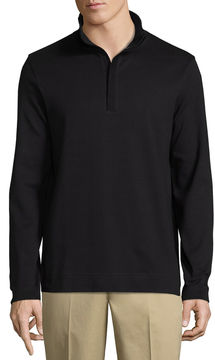 Claiborne Quarter Zip Interlock Mock Neck Long Sleeve Pullover Sweater