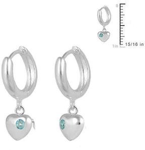 Ice Girls' Jewelry Silver Heart Huggie Hoop Earrings