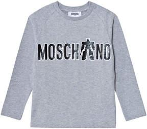 Moschino Grey Transformer Branded Print Tee