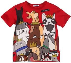 Dolce & Gabbana Dogs Printed Cotton Jersey T-Shirt