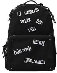 Valentino Men's Black Cotton Backpack.