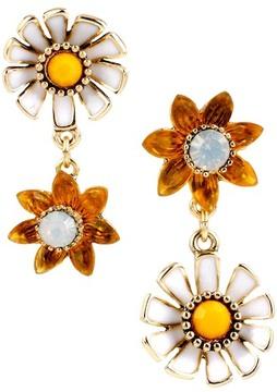 Betsey Johnson Flower Child Daisy Flower Mismatched Drop Earrings