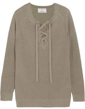 Allude Lace-Up Wool And Cashmere-Blend Sweater