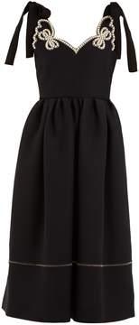 Fendi Faux-pearl embellished wool-blend dress