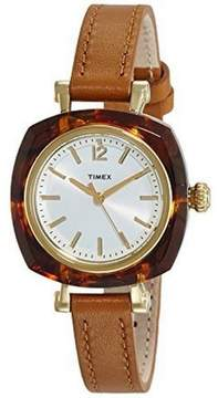 Timex TW2P70000 Women's Brown Leather Band With Silver Analog Dial Watch NWT