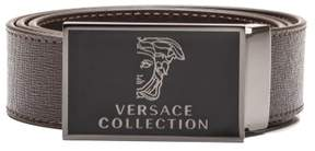 Versace Men's Medusa Head Saffiano Leather Belt Brown Steel