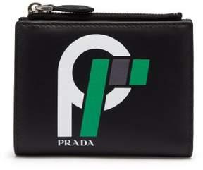 Prada Logo Print Leather Wallet - Womens - Black Green