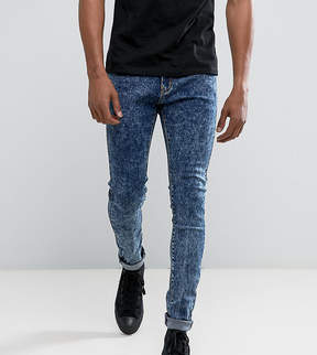 N. Liquor Poker Blue Acid Wash Skinny Jeans
