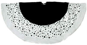 Asstd National Brand 48 Black and White Glittered Polka Dot Christmas Tree Skirt with White Faux Fur Trim