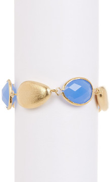 Rivka Friedman 18K Gold Clad Blue Crystal Pebble Bracelet