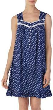 Eileen West Ruffled Printed Cotton Nightgown