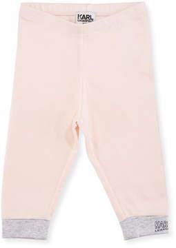 Karl Lagerfeld Two-Tone Jersey Logo Leggings, Size 3-12 Months