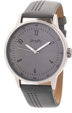 Simplify Silver & Gray The 5700 Leather-Strap Watch