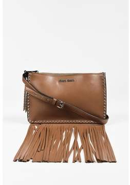 Miu Miu Pre-owned cannella Brown Leather Studded Fringe Bag.