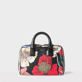 Women's 'Wild Garden' Print Leather Mini Bowling Bag