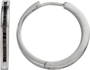 Black Diamond Sterling Silver 1/2-ct. T.W. Hoop Earrings