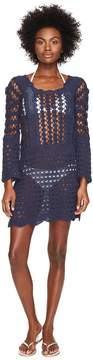 Letarte Crochet Long Sleeve Cover-Up Women's Swimwear