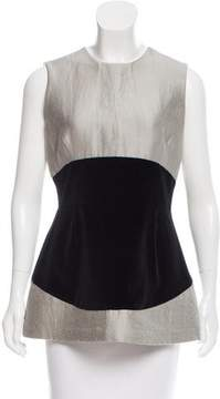 Behnaz Sarafpour Velvet-Accented Wool Top w/ Tags