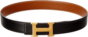 Hermes Black Reversible Leather Constance Belt (Size 74)
