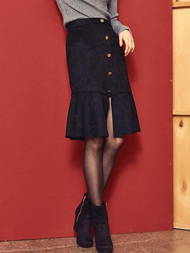 Blank Suede Slit Skirt Bk