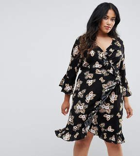 Club L Plus 3/4 Sleeve Detailed Wrap Black Floral Day Dress