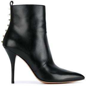 Valentino Black Leather Rockstud 110 ankle boots
