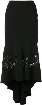 Christian Siriano fitted lace panel skirt