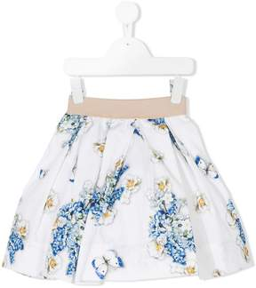 MonnaLisa butterfly and flower-print skirt
