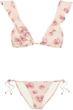 Eberjey Flying Lotus Ruffled Floral-print Triangle Bikini - Pastel pink