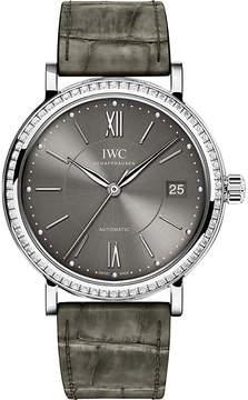 IWC IW458104 Portofino alligator-leather and diamond watch