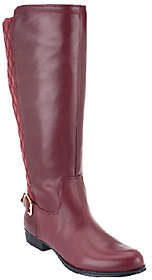Isaac Mizrahi Live! Wide Calf Leather QuiltedRiding Boots