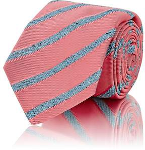 Kiton Men's Striped Silk-Cotton Grosgrain Necktie