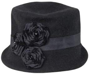 Nine West Women's Knit Micro Brim Rosette Hat (OS, Black)