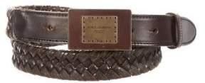 Dolce & Gabbana Woven Leather Logo Belt