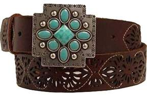 Ariat A1516402-S 1.5 in. Womens Aztec Cross Buckle Belt, Brown - Small