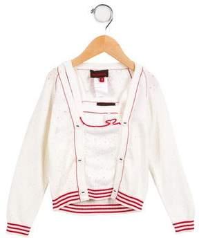 Catimini Girls' Layered Open Knit Cardigan