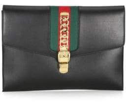 Gucci Sylvie Leather Maxi Clutch - BLACK - STYLE