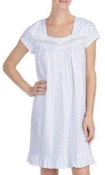 Eileen West Ruffled Hem Printed Cotton Nightgown