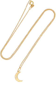 Andrea Fohrman Crescent Moon 18-karat Gold Opal Necklace