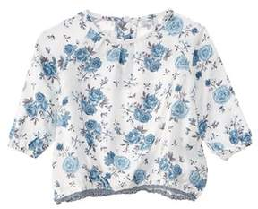 Chicco Girls' White & Blue Floral Top.