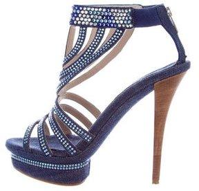 Le Silla Embellished Denim Platform Sandals