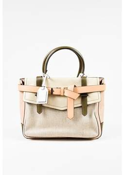 Reed Krakoff Pre-owned Beige Nude Olive Leather Canvas boxer Tote Bag.