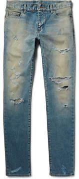 Saint Laurent Skinny-Fit 16cm Hem Distressed Washed Stretch-Denim Jeans