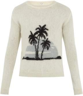 Saint Laurent Palm tree-intarsia crew-neck sweater